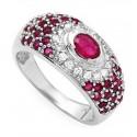 14K White Gold Ring w Diamond & Ruby