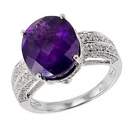14K White Gold Ring with Amethyst and Diamond Size 7