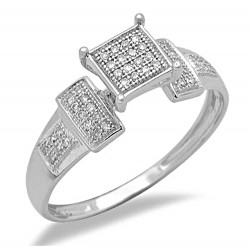 14K White Gold Ladies Ring with Diamond