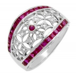 18K White Gold Ladies Ring with Ruby & Diamond