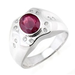 14K White Gold Ladies Ring with 1.39CT Ruby & .18CT Diamond