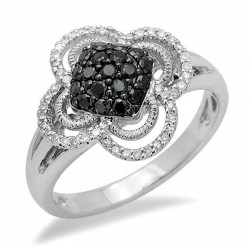 14K White Gold Ring with Black Diamond