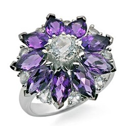 14K Gold Ring w Amethyst and Crystal