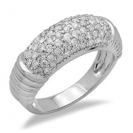 14K White Gold Ring with Diamond Size 7.5