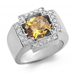 14K White Gold Ring w Citrine & Diamond