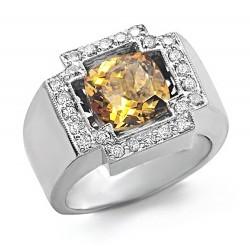 14K White Gold Ring w Citrine & Diamond