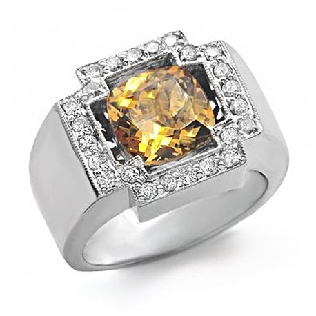 14K Gold Ring w Citrine & Diamond Size 8