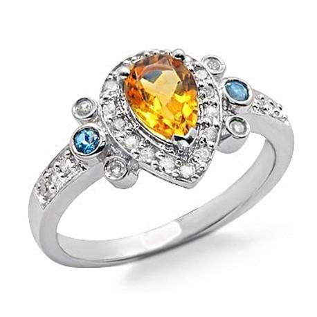 14K Gold Ring w Diamond, Citrine & Topaz Size 7