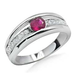 14K White Gold Ring w Ruby & Diamond