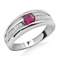 14K White Gold Ring w Ruby & Diamond