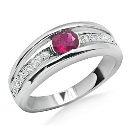 14K White Gold Ring w Ruby & Diamond Size 7