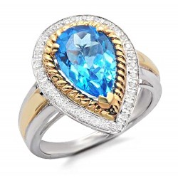 14K Two-Tone Gold Ring w Diamond & Topaz
