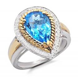 14K Two-Tone Gold Ring w Diamond & Topaz