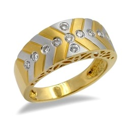 18K Two Tone Gold Ring w Diamond