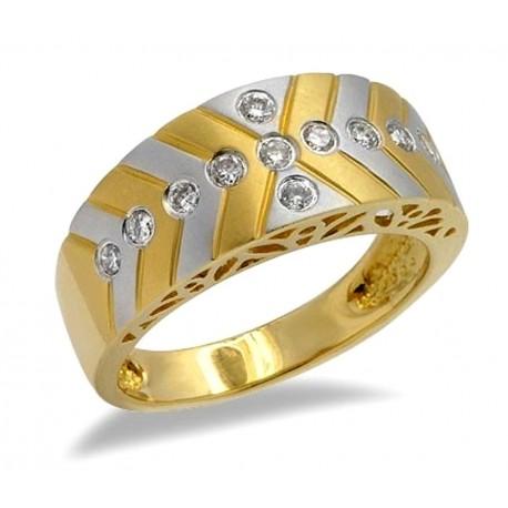 18K Two Tone Gold Ring w Diamond Size 7