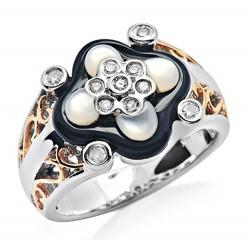14K White Gold Ring w Onyx MOP & Diamond