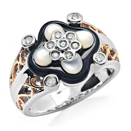 14K White Gold Ring w Onyx, MOP & Diamond Size 7