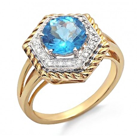 14K Gold Ring with Diamond & Topaz Size 7