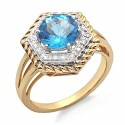 14K Gold Ring with Diamond & Blue Topaz