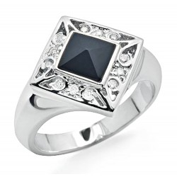 14K White Gold Ring with Diamond & Onyx