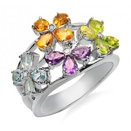 14K Gold Ring w Diamond & Gemstones Size 7.5
