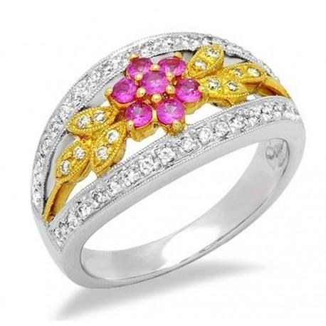 18K Gold Ring w Sapphire & Diamond Size 7