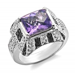 14K Gold Ring w .95CT Diamond & Amethyst