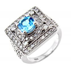 10K White Gold Ring with 1.5CT Diamond & 1.5CT Topaz