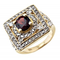10K White Gold Ring with 1.5CT Diamond & 1.5CT Garnet