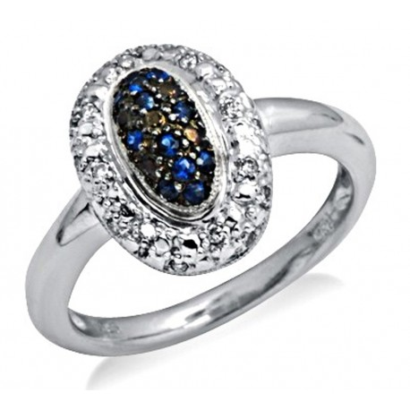 Sterling Silver Ring with Sapphire and Diamond Size 7