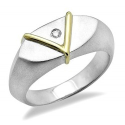 Sterling Silver & 18K Gold Ring with .02CT Diamond