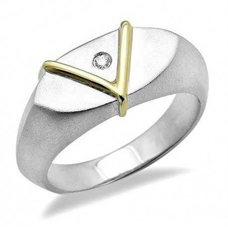 Sterling Silver & 18K Gold Ring with Diamond Size 7