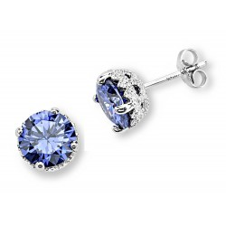 Silver Elegance Sterling Silver Tanzanite CZ Earrings