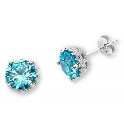 Silver Elegance Sterling Silver Blue Topaz CZ Earrings