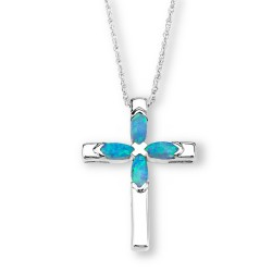 Silver Elegance Sterling Silver Cross Pendant with Blue Opal