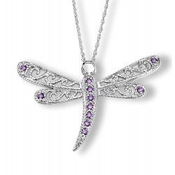 Silver Elegance Sterling Silver Dragonfly Pendant with Amethyst