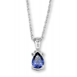 Silver Elegance Sterling Silver Teardrop Pendant with Tanzanite CZ
