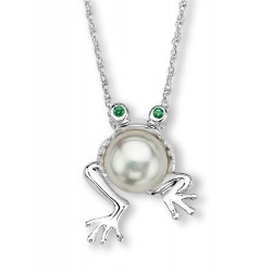 Silver Elegance Sterling Silver Frog Pendant with Pearl