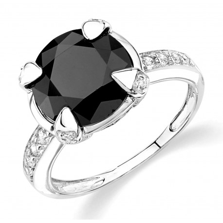 Silver Elegance Sterling Silver Ladies Ring with Black CZ