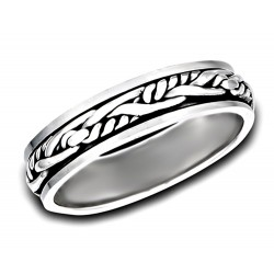 Sterling Silver Spinning Band Ring with Woven Middle