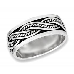Sterling Silver Wide Interwoven Spinning Band Ring
