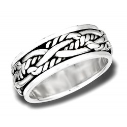 Sterling Silver Heavy Woven Rope Spinning Ring