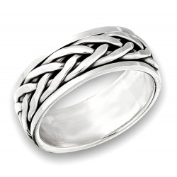 Sterling Silver Unisex Interwoven Spinning Ring