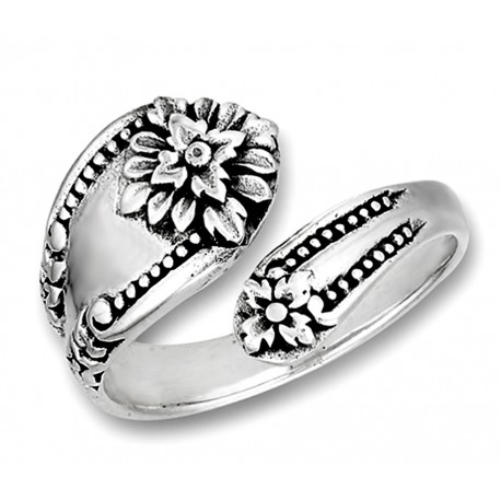 Sterling Silver Victorian Spoon Ring with Flower