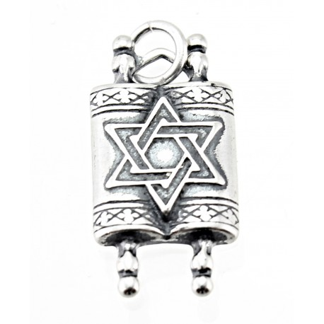 Sterling Silver Torah Charm Star of David