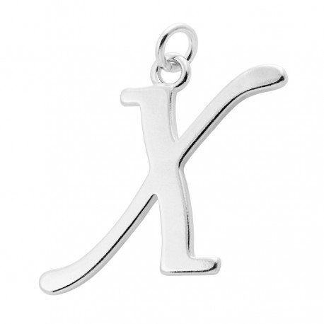 Sterling Silver Script Initial Pendant or Large Charm - X Letter