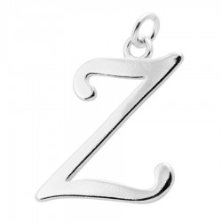 Sterling Silver Script Initial Pendant or Large Charm - Z Letter