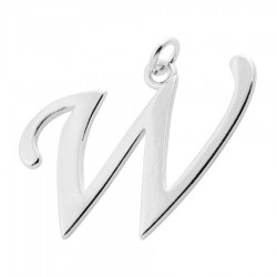Sterling Silver Script Initial Pendant or Large Charm - W Letter
