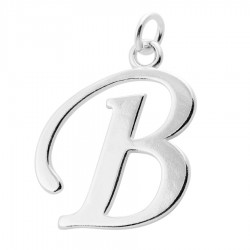 Sterling Silver Script Initial Pendant or Large Charm - B Letter