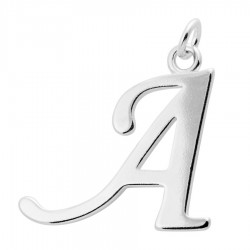 Sterling Silver Script Initial Pendant or Large Charm - A Letter